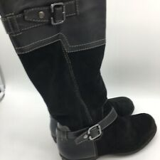 Women's Black Leather/ Suede Boots, With Rubber Heels, Size 9.0M