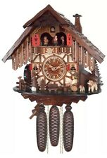 Eight Day Musical Cuckoo Clock Cottage with Beer Drinker And Moving Waterwheel