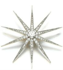 White Round Star Design Brooch Pin 925 Sterling Silver Handmade Fine CZ Jewelry