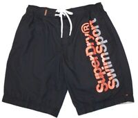 Superdry Mens Boardshorts BNWT Darkest Navy Orange Print RRP $99.99 Size XL H2O