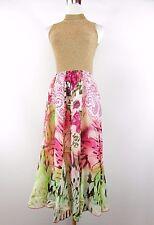 SOL Design Women's Vtg Floral Circle Floral Chiffon Long Casual Skirt sz 44 BI68