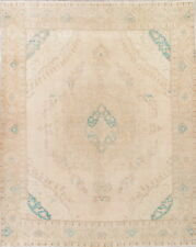 ANTIQUE MUTED Geometric Oriental Hand-Knotted 10x13 DISTRESSED Beige Rug