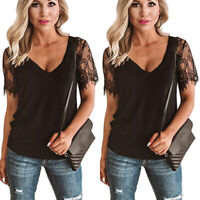 Women's Lace Crochet T-Shirt Tops Summer Short Sleeve V-Neck Casual Loose Blouse