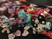 LPS Littlest Pet Shop Random Lot 10 Handmade Dogs Cats Doll Accessories Bows🇨🇦