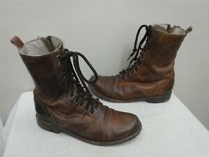 FREEBIRD CHASE 10 Brown Distressed Leather Mid Lace Zip Cap Toe Combat Boots