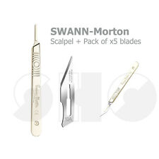 Swann Morton No.3 Scalpel Handle + Pack of 5 surgical blades No.10A Blades