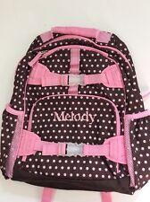 Pottery Barn Kids Brown Pink Polka Dot Large Mackenzie Backpack name MELODY New