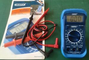 Draper DMM1A digital multi meter with test leads and new battery.