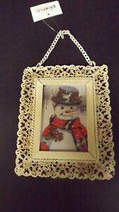 New Metal Lacey Framed Christmas Ornament With Snowman Mint with Tag