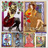 Coloring Book for Adult Steampunk Fashions Designs Anti Stress Relax Therapy NEW