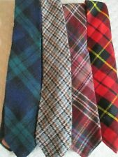 Vintage Lot 4 Wool Ties Rooster Wembly Tartan Plaid Red Navy Green Multi Color T