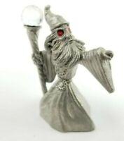Sponntiques Pewter Wizard w/ Crystal Ball Red Eyes Fantasy Figurine CMR951 1987