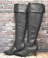 Womens Primark Black Zip Up Mid Heel Over the Knee Boots Size UK 6 D EUR 39