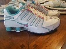 2012 Nike Shox womens Rainbow Gray Pink White Turquoise Running Shoes Size 7Y
