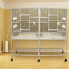 Large Double Small Animal Ferret Sugar Glider Wrought Iron Cage 0439 Silver -916