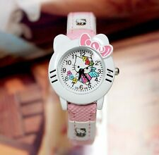 Girl Kid Cute Pink Hello Kitty Synthetic leather Wrist band Watch Gift for her