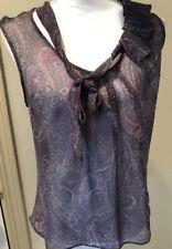 Gap Womens Size XS Gray Paisley Sheer Sleeveless Ruffle Neckline Blouse