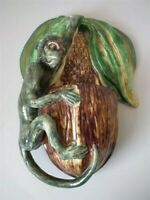 Palissy Ware Majolica monkey wall pocket, by JFS