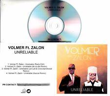 VOLMER Unreliable 2017 UK 4-trk promo test CD featuring Zalon