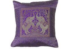 "Purple Elephant Cushion Cover - Gold Zari Brocade Pretty Accent Throw Pillow 16"""