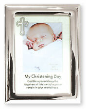 """Silver Plated  Christening Photo Frame Wall or Free Standing 6 5/8"""" x 8 5/8"""""""