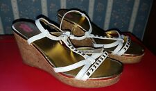 Women Faded Glory Wedge White Straps Studs Sandals Shoes  sz 3