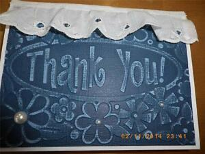 Handmade THANK YOU Card Embossed Using Stampin UP! Darice Folder Lace Pearls
