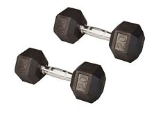 20 Lb (PAIR) Rubber Coated Hex Dumbbells Lifetime Warranty Dumb Bells