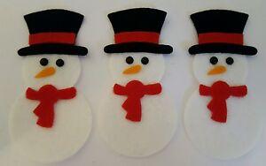 X3 Handmade Felt Snowman Embellishments. Christmas embellishments.Die cuts