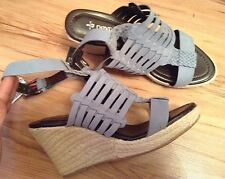 New🌹Next🌹Size 8 Light Blue Wedge Suede Leather Sandals (42 EU) Summer Holiday