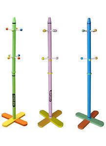 Kiddi Style Childrens Crayon Wooden Coat Stand NEW Kids Toddler Rack Hanger Bags