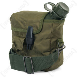 US Canteen and Cover with Shoulder Strap Olive Green  - Water Insulated Army New