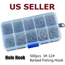 500pcs 10 Sizes Assorted Sharpened Fishing Hooks Lures Baits With Tackle Box