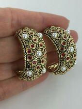 Beautiful Red Crystal & Pearl Half Hoop Antiqued Brass Silvertone Earrings