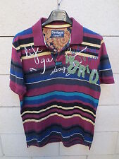 Polo DESIGUAL welcome to our world bordeaux bleu rayé shirt L