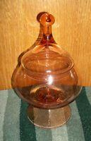Vintage Orange Indiana Glass Pedestal Covered Candy Dish