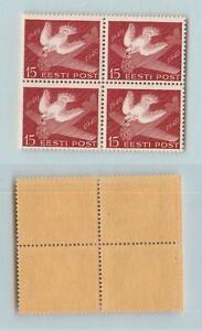 Estonia 🇪🇪 1940 SC 162 MNH block of 4. rtb2036