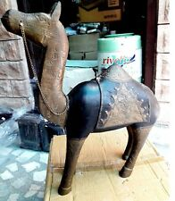 Wooden Camel Vintage Old Collectible Handcrafted Brass Fitted Camel Indian Art