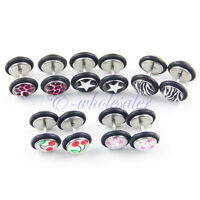10Pcs Mix Pattern Fake Cheater Earring Stud Barbell Ear Plug Earlet Gauge TW