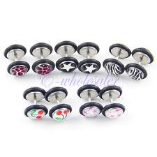 10Pcs Mix Pattern Fake Cheater Earring Stud Barbell Ear Plug Earlet Gauge TW