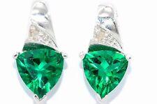 3 Ct Emerald & Diamond Trillion Stud Earrings White Gold Silver