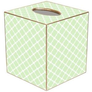 """MARYE-KELLEY, CHELSEA LIGHT MINT GREEN CUBED TISSUE BOX COVER, 5"""" TALL, NEW"""