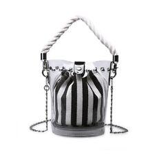 Women Transparent Clear Messenger Shoulder Handbag Bucket Bag Purse Summer Chain