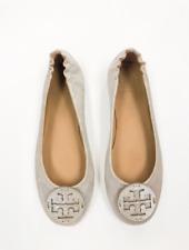 Tory Burch NEW Minnie Metallic Sand Leather Travel Ballet Flat Logo $228 Dustbag