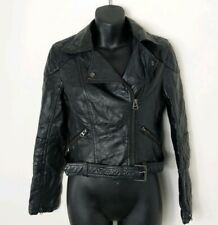 Topshop Petite Black Synthetic Leather Biker Jacket Size 10 Like 8