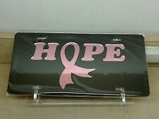 Cancer Hope Pink (black) acrylic mirror  laser cut license plate