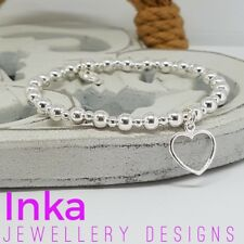 Inka 925 Sterling Silver chunky beaded Stacking Bracelet with Open Heart charm