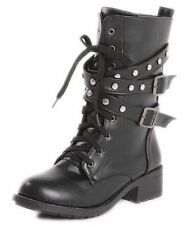 Low (3/4 in. to 1 1/2 in.) Lace Up Synthetic Casual Boots for Women