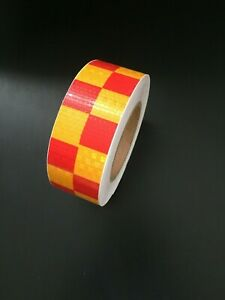 Reflective Tape Self Adhesive High Intensity Safety Red/Golden Yellow(50mmx25M)