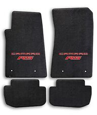 2010-2015 Chevrolet Camaro 4pc Black Carpet Floor Mats w Red RS Logo on Fronts